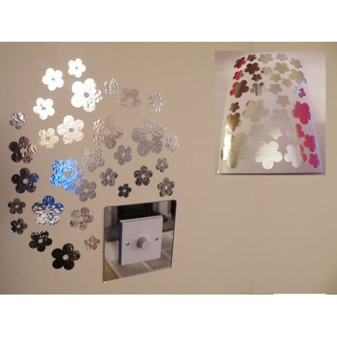 Mirror Flowers Wall Stickers