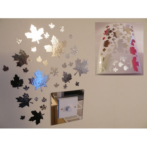 Mirror Leaves Wall Stickers