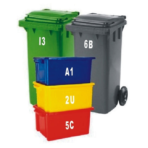 SET OF 10 Wheelie Bin Box Crate Number and Letter Stickers