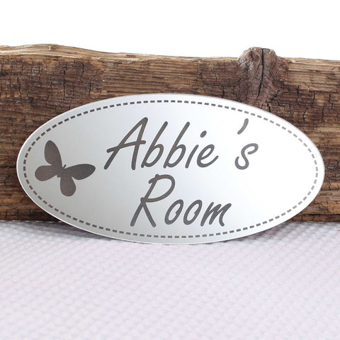 Shabby Chic Mirror Oval Personalised Plaque