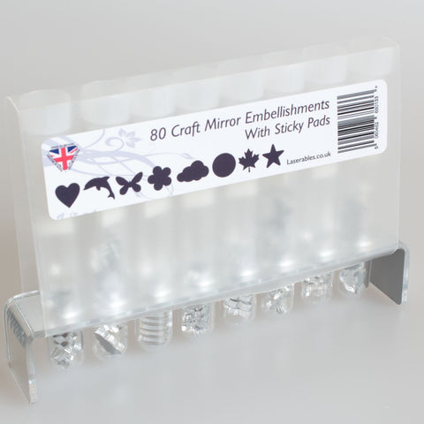 80 Piece Mirrored Acrylic Embellishment Set