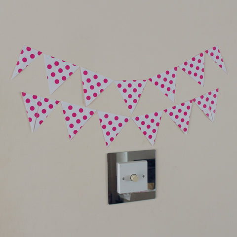 Any Colour you Wish Polka Dot 12 Bunting Wall Art Stickers Garland Sheet of A4