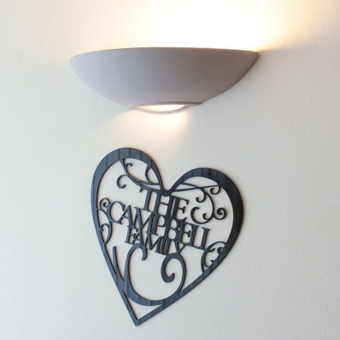 Personalised Family Name Plaque Decoration - Available in Black, White or Mirrored Acrylic