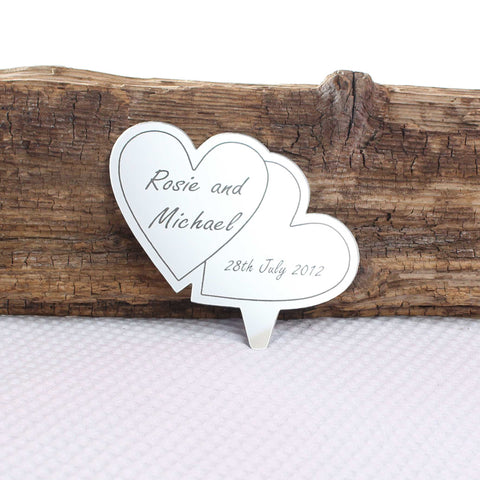 Personalised Heart Engraved Mirror Cake Topper