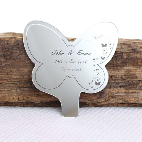 Personalised Butterfly Swirl Mirror Cake Topper