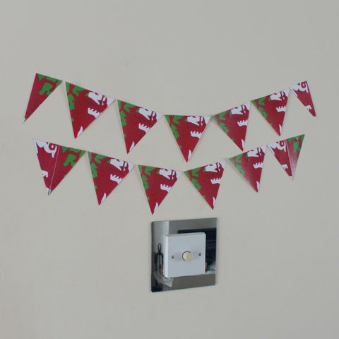 12 Welsh Flag Bunting Stickers