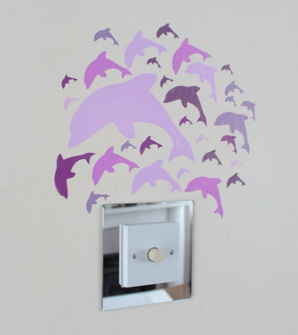31 Dolphin Stickers Pink Lilac