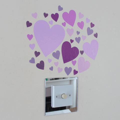37 Heart Stickers Pink Lilac