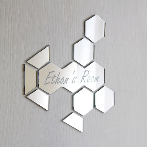 Honeycomb Mirror Set Personalised Door Name Plaque