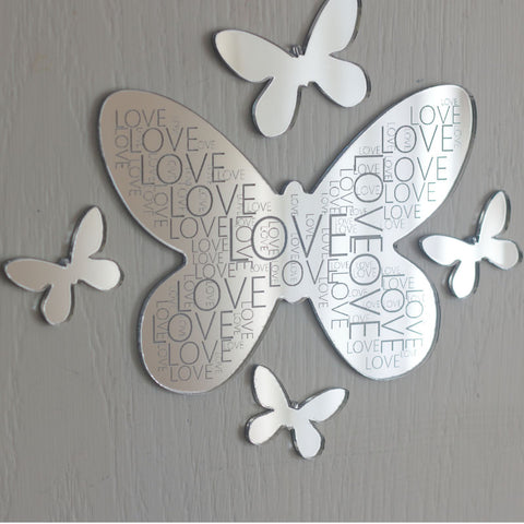 Love Engaved Mirror Acrylic Butterfly Wall Art Set