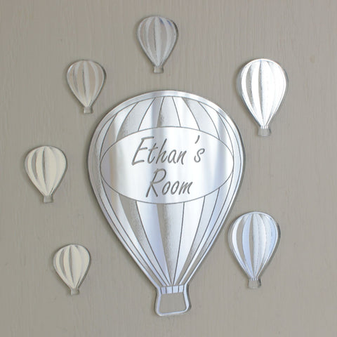 Hot Air Balloon Acrylic Mirror Personalised Door Name Plaque
