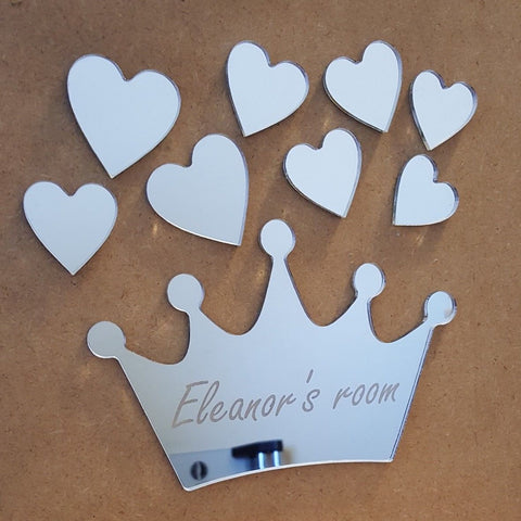 Princess Crown Heart Mirror Set Personalised Plaque