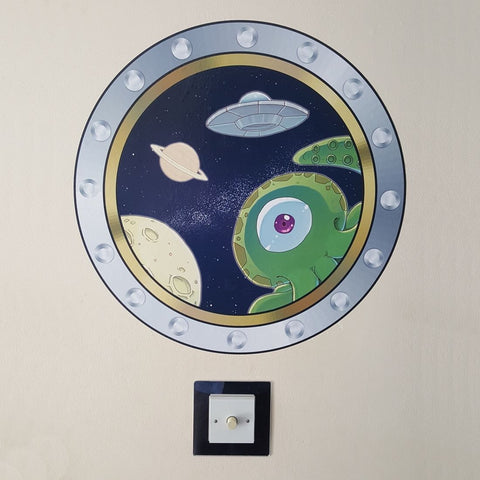Alien UFO Porthole Wall Sticker Art