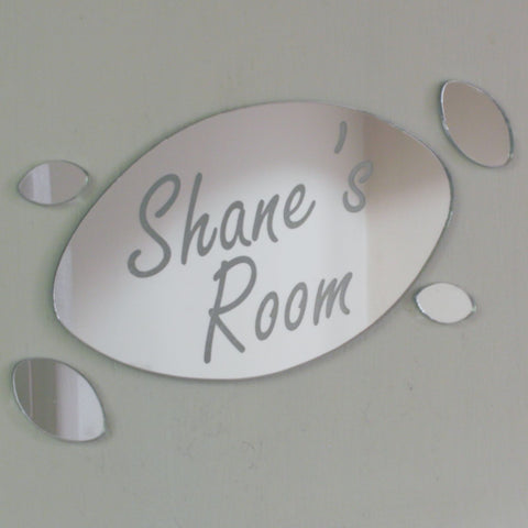 Rugby Ball Acrylic Mirror Personalised Door Name Plaque