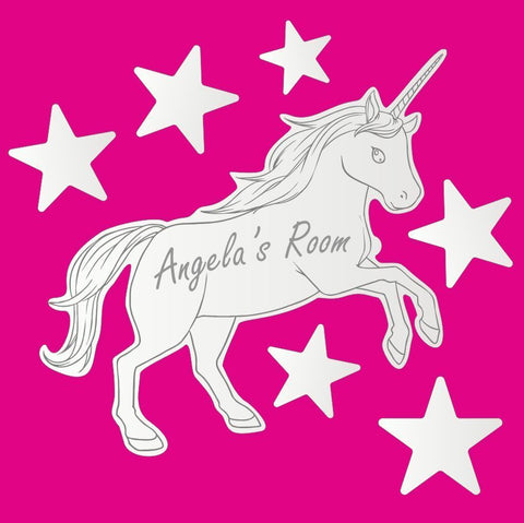 Personalised Leaping Unicorn Mirror Door Name Plaque set