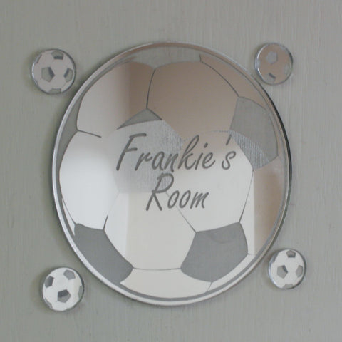 Football Acrylic Mirror Personalised Door Name Plaque