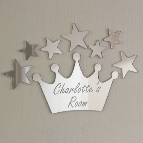 Princess Crown Mirror Set Personalised Plaque