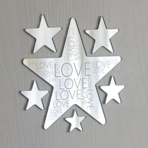 Love Engaved Mirror Acrylic Star Wall Art Set