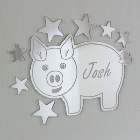Piggy Pig Mirror Set Personalised Plaque