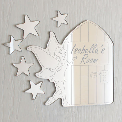 Fairy and Fairy Door Personalised Acrylic Mirror Door Plaque Set