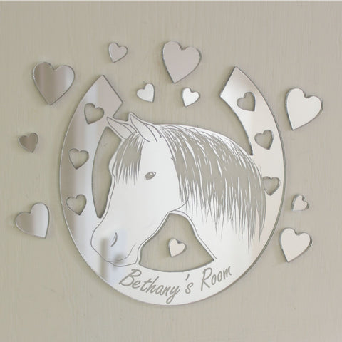 Horse Head Horseshoe Mirror Set Personalised Plaque