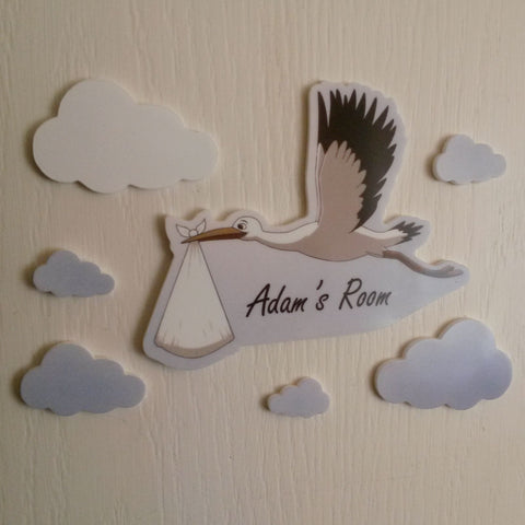 Baby and Stork Personalised Printed Acrylic Door Name Plaque