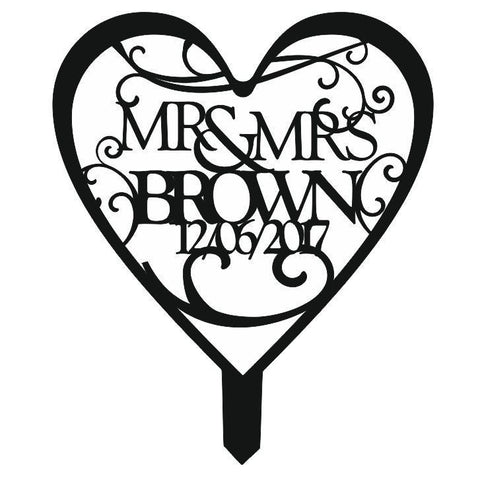 Personalised Mr and Mrs Wedding Cake Topper - Available in Black, White or Mirrored Acrylic