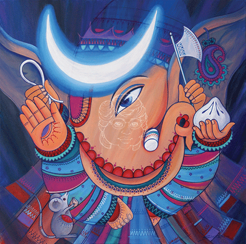 Bhalchandra - The Boy With The Moon - Canvas Print