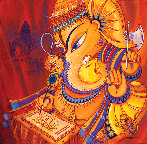 Ganesha Writing Mahabharata - Canvas Print