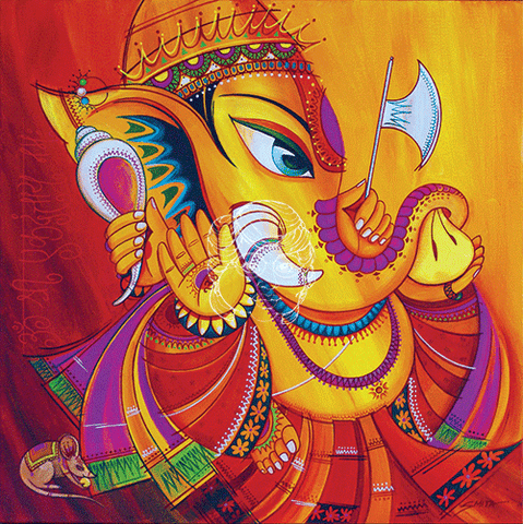 Ekadanta - The One Tusked Ganesha - Canvas Print