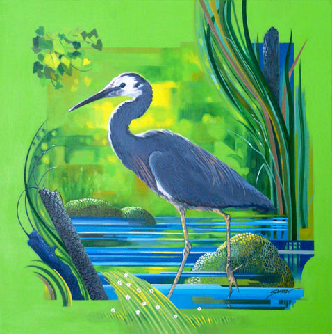 Heron a Glimpse - Original Painting