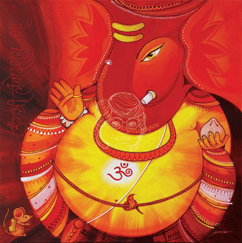 Lambodar - Large Belly Ganesha - Canvas Print