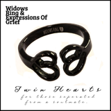 TWIN HEARTS  & Soulmates Apart Black Stainless Steel Ring