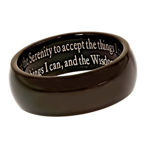 SERENITY PRAYER Black Wedding Band
