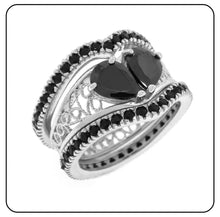 Load image into Gallery viewer, Broken Heart 3 ring Set in Sterling Silver