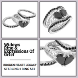 Broken Heart 3 ring Set in Sterling Silver