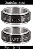 ALWAYS IN MY HEART &  SOUL Spinning Prayer Wheel Ring