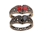 BROKEN HEART Patented Design Gunmetal Plated Ring