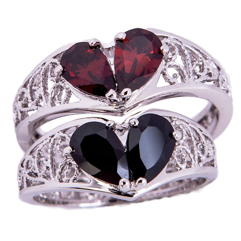 BROKEN HEART Sterling Silver Ring- Garnet or Jet Tears