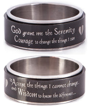 Load image into Gallery viewer, SERENITY PRAYER Spinning Prayer Wheel Ring