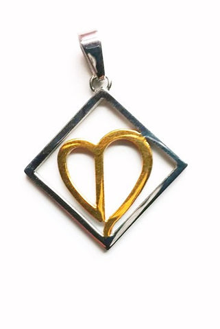 BROKEN HEART  Stainless Steel Reversible Pendant