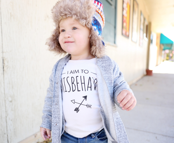 Wolf Pup Threads I Aim To Misbehave organic cotton t-shirt