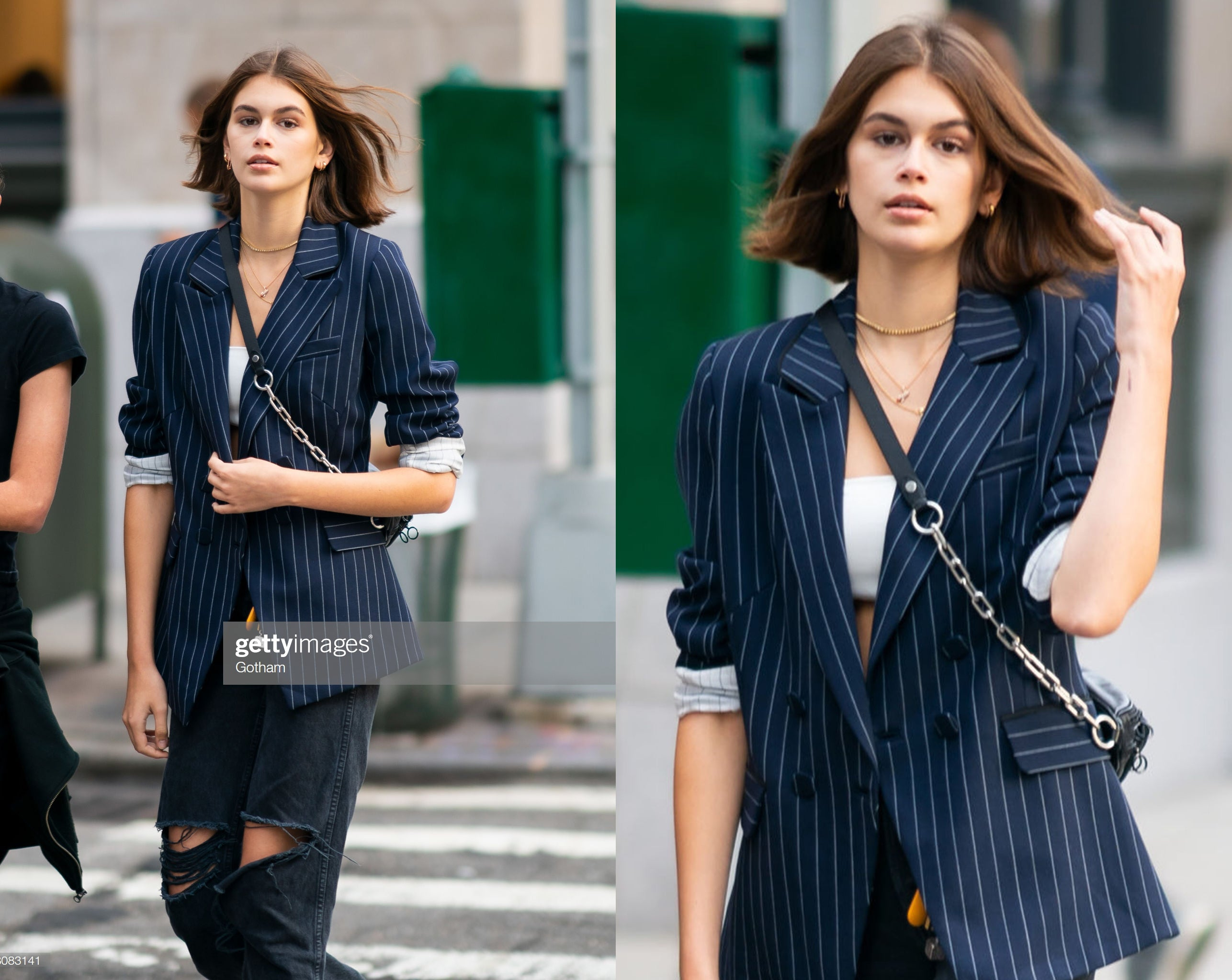 Kaia Gerber New York Manhattan wearing Avila by dn mika top blazer