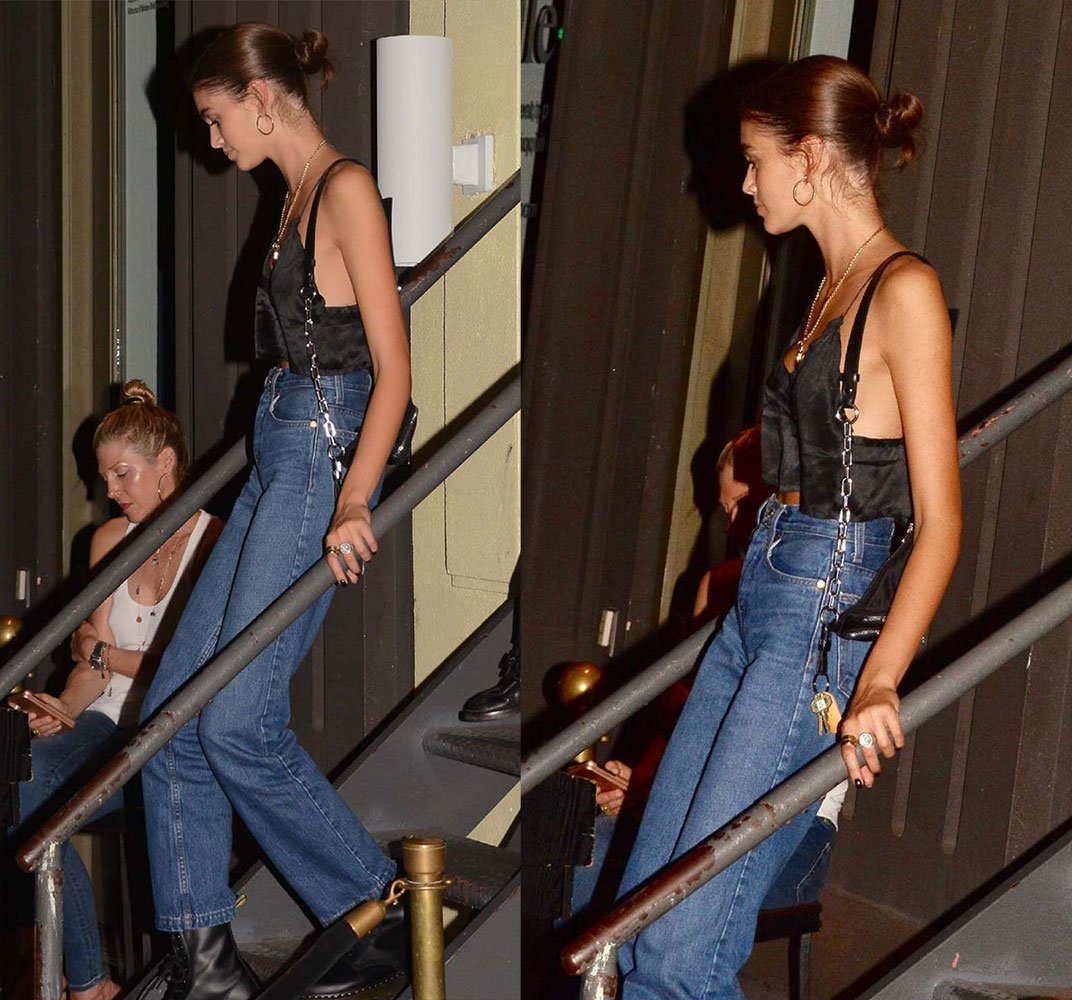 Kaia Gerber wearing the silk Lais Top from Avila in Los Angeles at Cipriani Restaurant