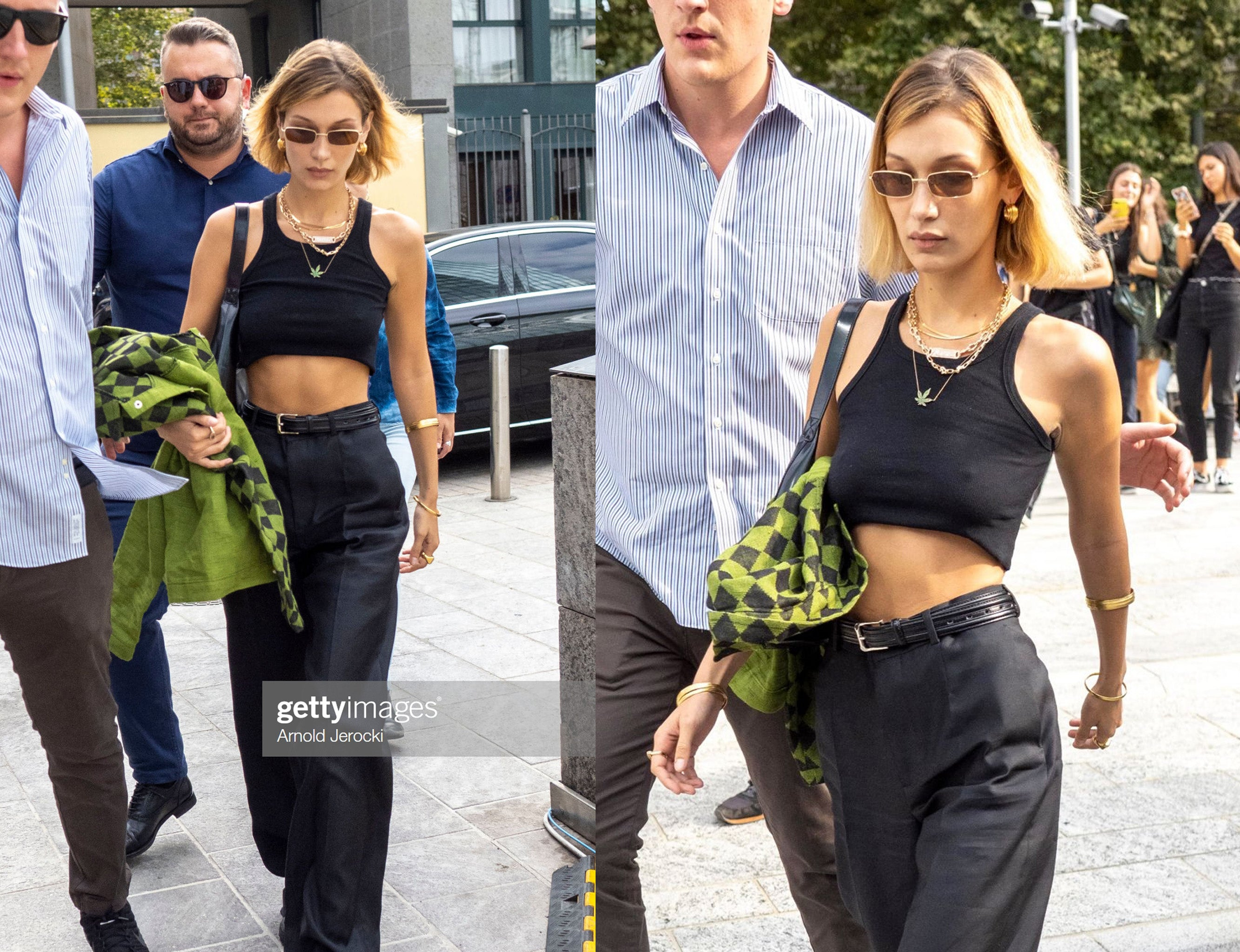 Bella Hadid leaving Alberto Ferrari show in Milan wearing Avila by dn rue tank crop top Milan fashion week mfw