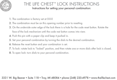 Furniture Care and Lock Instructions