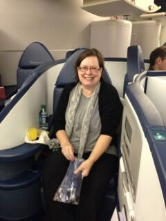 Terie Spencer on a plane to China
