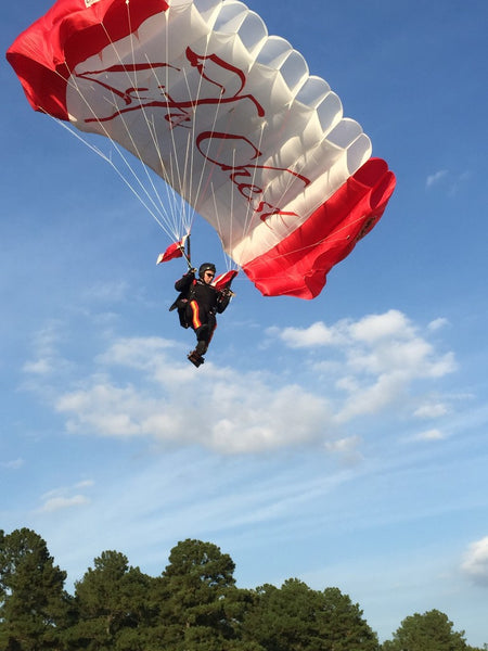 The All Veteran Group Jumps into Charlotte Motor Speedway with Life Chest Parachute