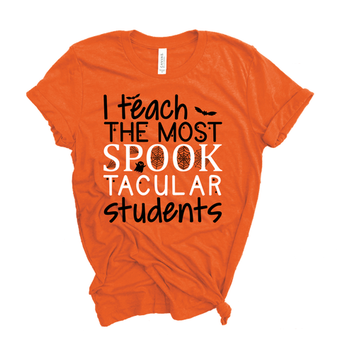 """SPOOKtacular Students"" Halloween Themed Teacher Tee"