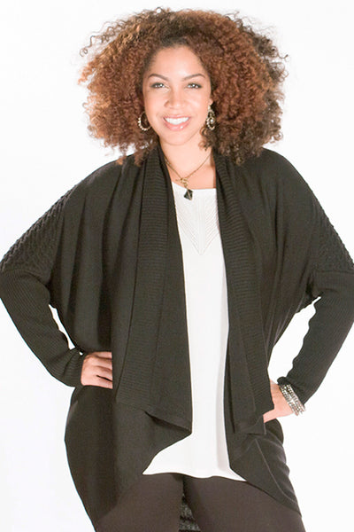 black cozy draped blanket cardigan
